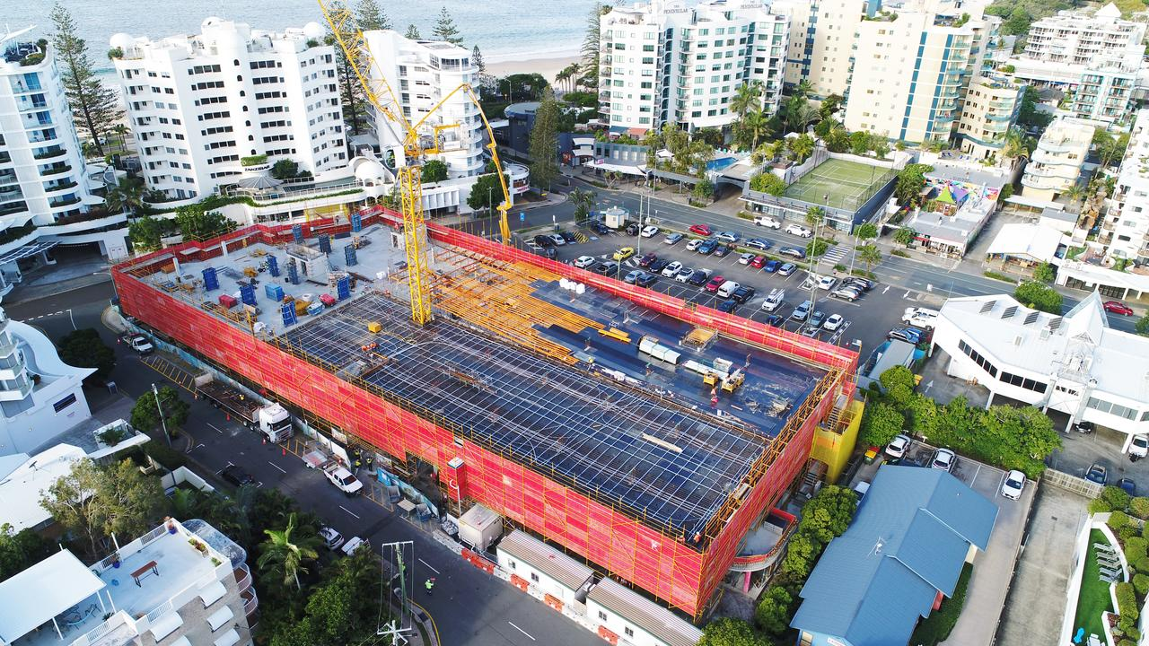 Brisbane Road carpark construction, Mooloolaba. A hotel is proposed to be built on the balance of the land. Photo Patrick Woods / Sunshine Coast Daily.