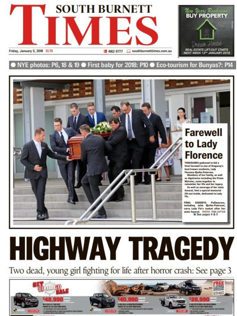 HUGE NEWS: One of the front pages from coverage of Lady Flo's state funeral which happened when Christian Berechree was editor of the South Burnett Times. (Photo: FILE)