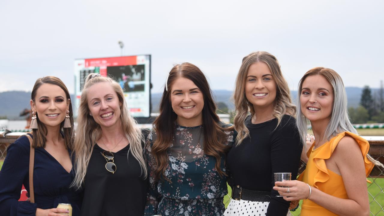 Jacqui Evans, Erin McLean, Tanaye Zischke, Paige Eastell and Hayley Reuter, at the Lockyer Valley Turf Clubs Gatton Cup Day, June 1, 2019.