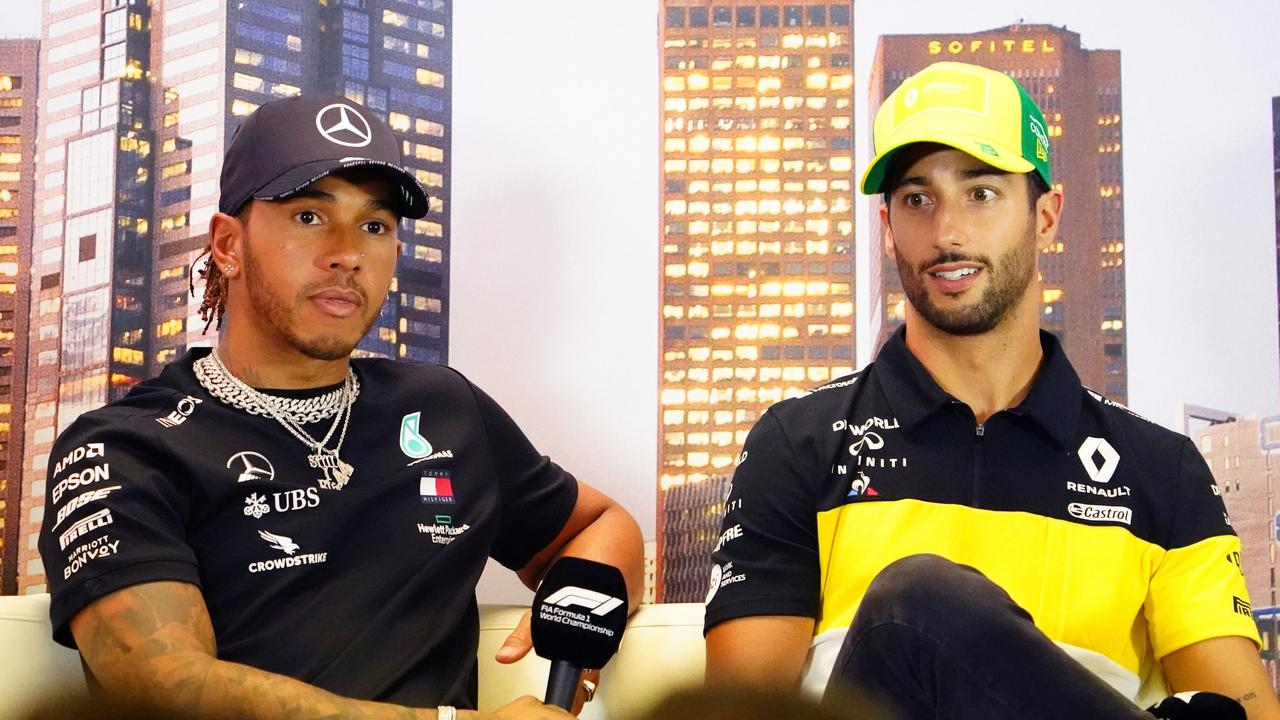 Lewis Hamilton of Great Britain and Mercedes GP and Daniel Ricciardo of Australia and Renault Sport F1 during a press conference ahead of the Formula 1 Australian Grand Prix 2020 at the the Albert Park Circuit in Melbourne, Thursday, March 12, 2020. (AAP Image/Scott Barbour) NO ARCHIVING, EDITORIAL USE ONLY
