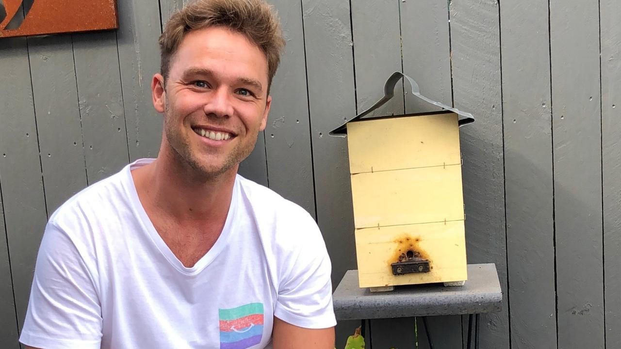 Supplied Editorial Lincoln Lewis with his native beehives. Supplied