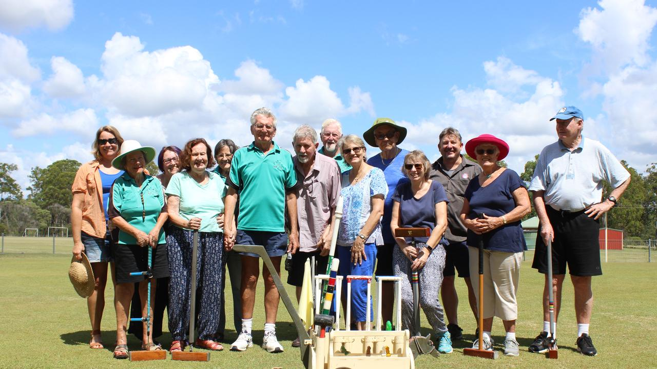 Taree Brearley of Clarence Valley Dementia outreach (far right) teams up with Coutts Crossing Croquet for a morning of croquet.