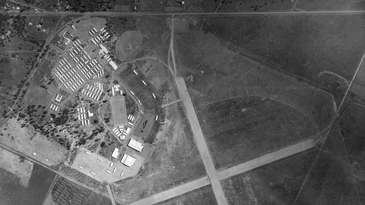 Aerial shot of RAAF Base Amberley in the 1940s.