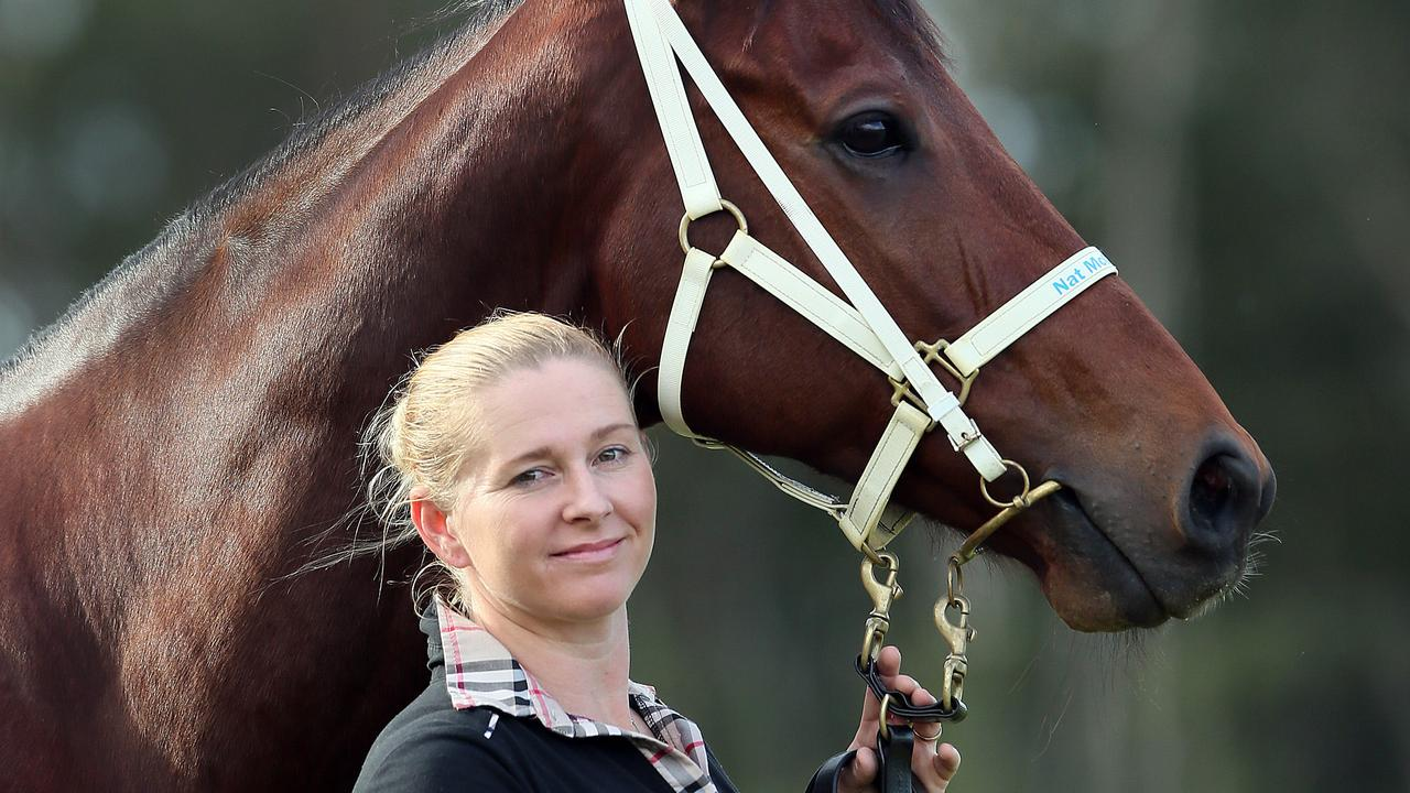 Trainer Natalie McCall with River Lad nickname BILLY.at Corbould Park Stables ,Caloundra.Pic Glenn Barnes. Crash Craddock.