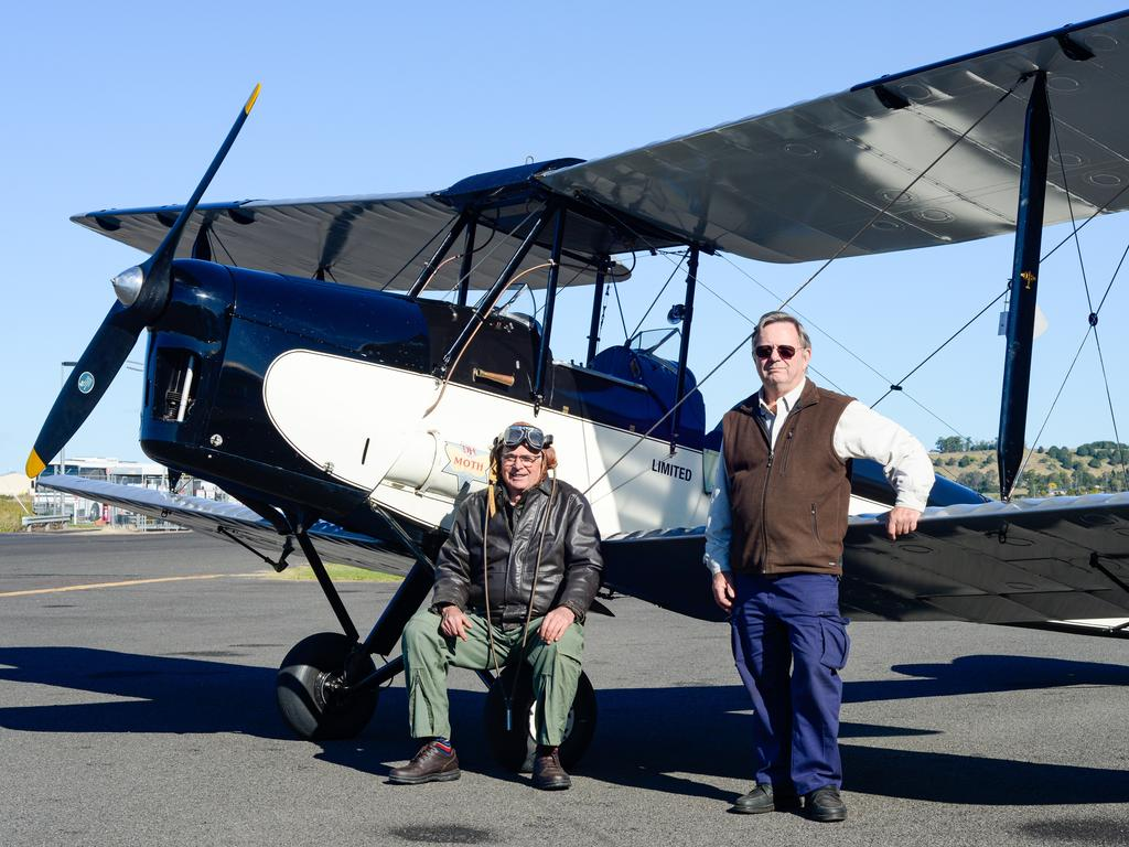 PER AERIAL MAIL: Retired builder and pilot Bill Finlen and Lismore Historian Geoff Wotherspoon with Mr Finlen's one of a kind Moth Major DH60M111 to be flown for the centenary re-enactment of Lismore's first sanctioned Airmail Lismore to Tenterfield.