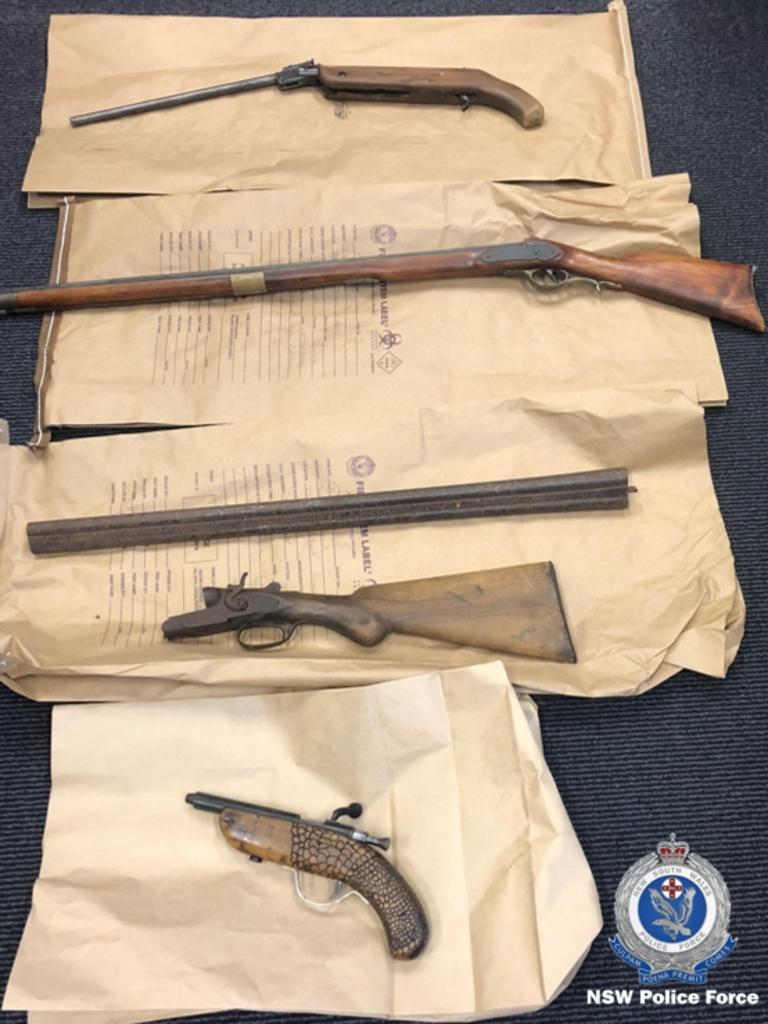 Firearms seized from a Coraki home.