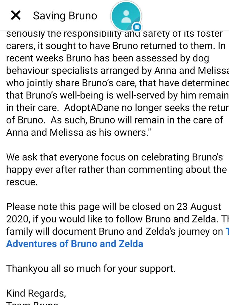 The battle over Bruno the Great Dane is over. Picture: Saving Bruno/Facebook