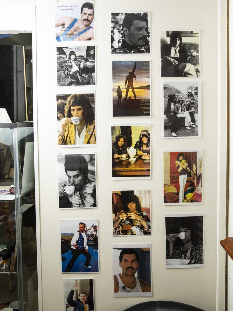 Part of Connor's collection of Queen memorabilia. Picture: Mark Cranitch.