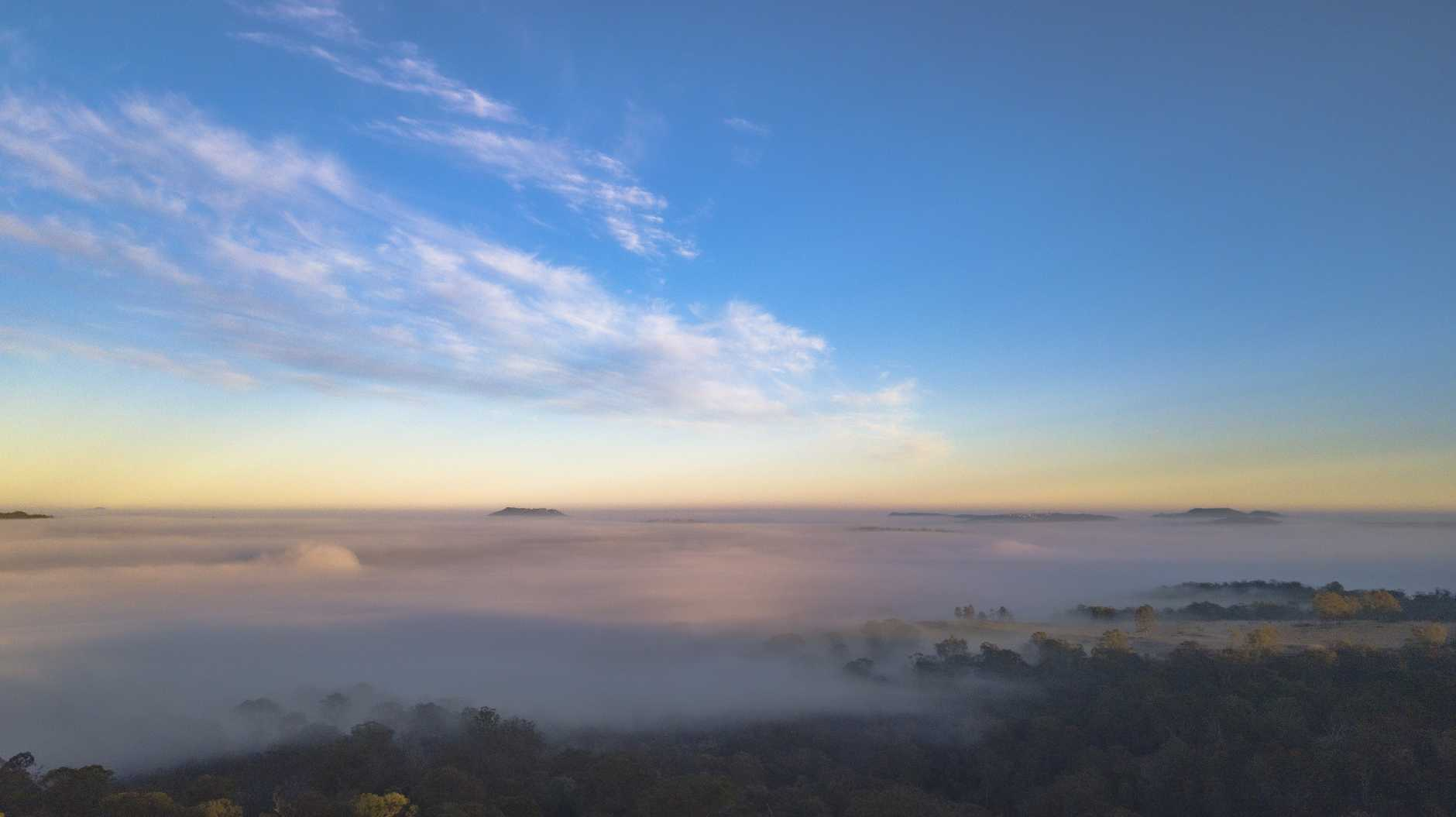 Toni Malferrari captured a photo of fog settling in over Mount Kynoch this morning.