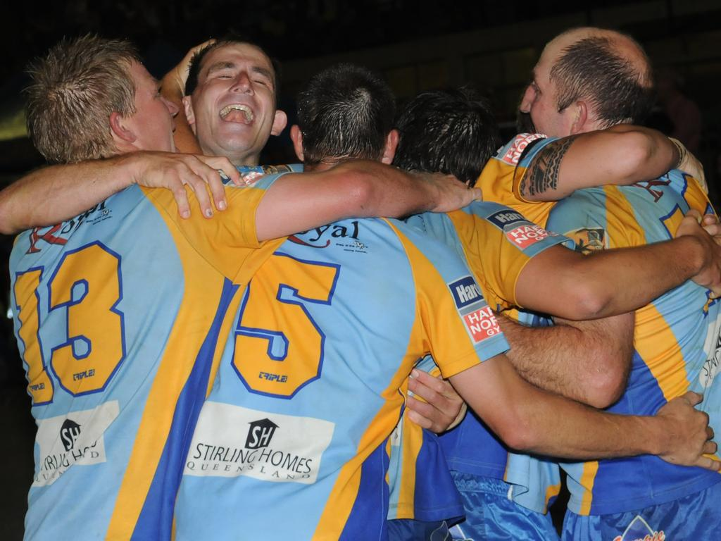The team celebrates Darren Burns second and match winning try.
