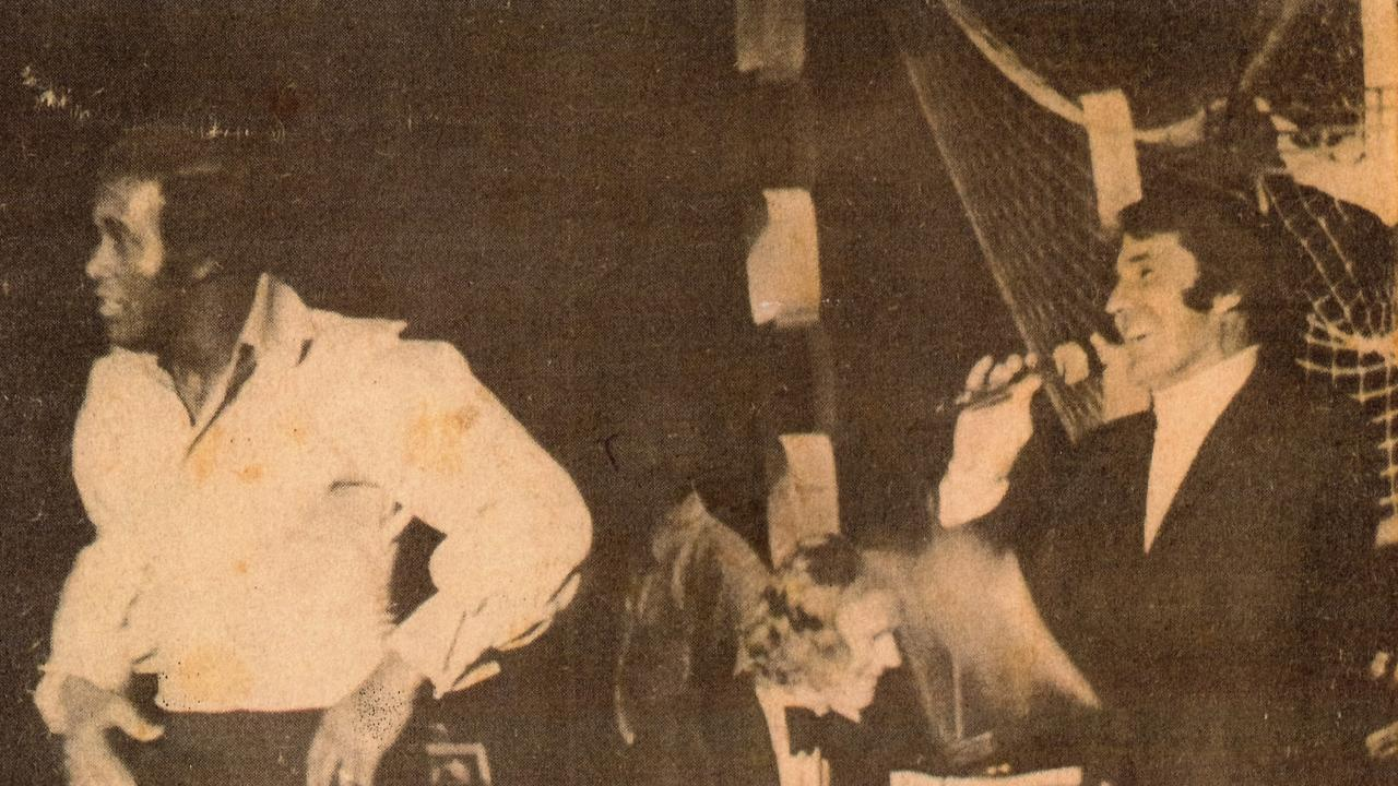 A Northern Star clipping of Richard on stage with Lovelace Watkins in the early 1970s.