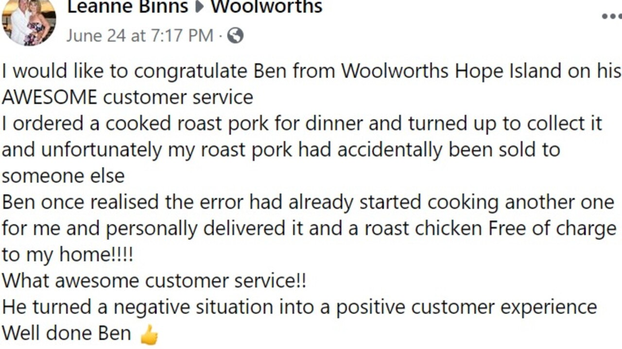 Leanne posted to Woolies' official Facebook page to let them know how 'awesome' staffer Ben was in personally delivering her order.
