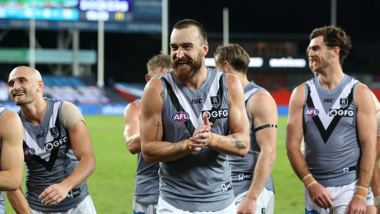 Charlie Dixon is all smiles after the Power's win over the Fremantle Dockers last Sunday at Metricon Stadium on the Gold Coast. Picture: Chris Hyde/Getty Images