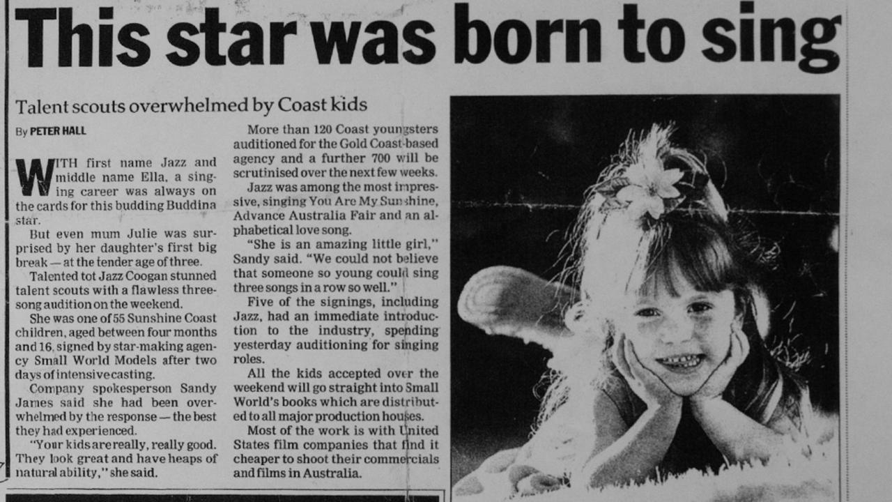 A newspaper clipping of Jazzella Coogan from when she appeared in the Sunshine Coast Daily 20 years ago.