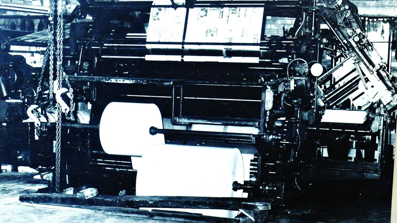 The Cossar flatbed press, last printing of The Gympie Times at the Mary St printery, Saturday, February 23, 1980.