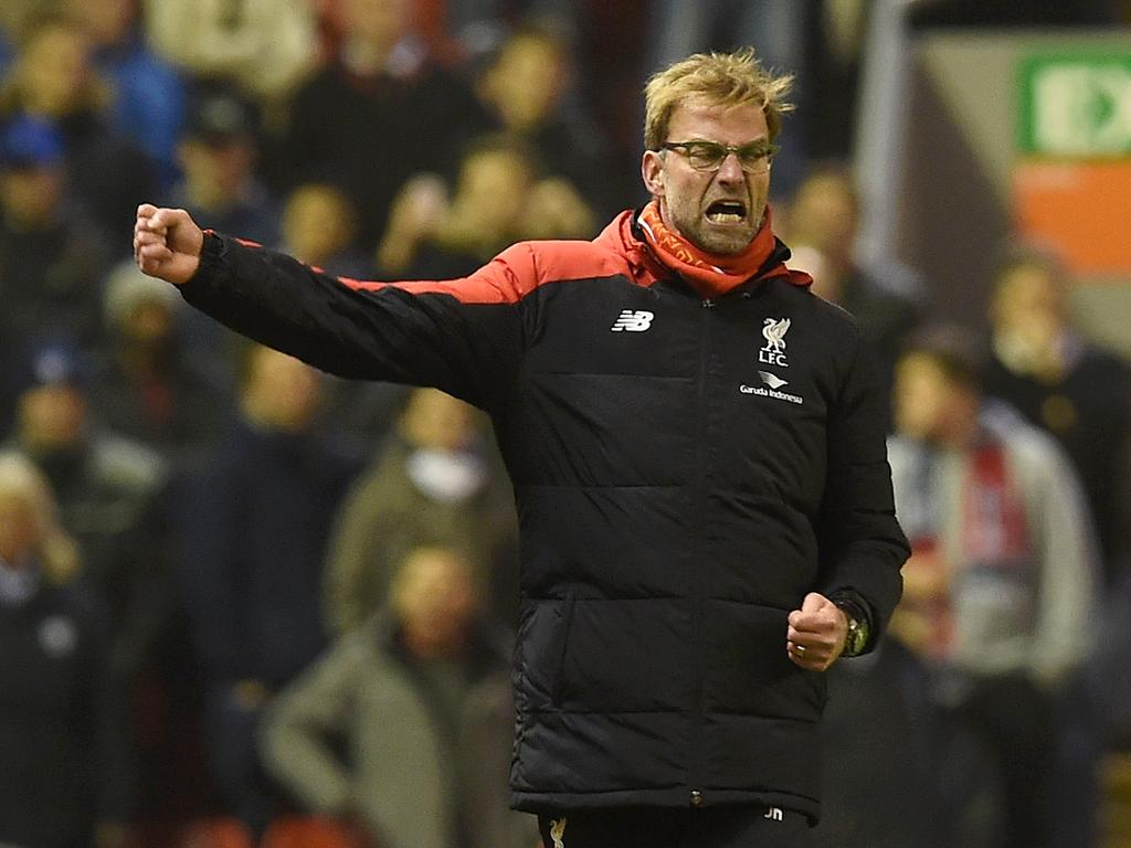 Jurgen Klopp celebrates against West Bromwich Albion at Anfield on December 13, 2015. (Photo by John Powell/Liverpool FC via Getty Images)