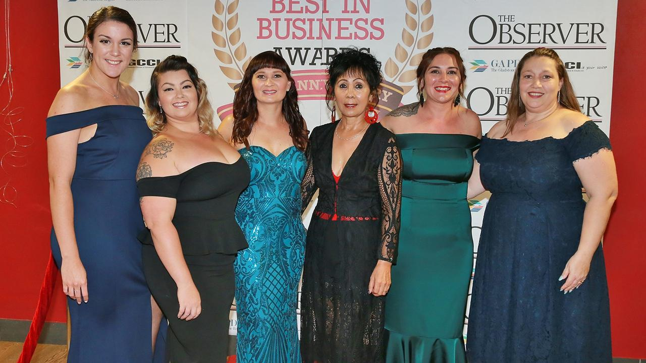 L-R Maddison Francisco, Teeanna Thomsen, Crystal Hudson, Cheryl Royal-Scott, Jess McKay and Rosita Waller at the Best In Business Awards.