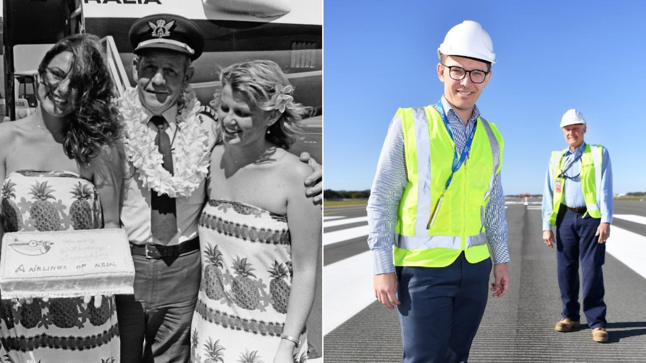 (Left) Ansett celebrated its Airlines of New South Wales flights into Maroochy Airport in 1980. (Right) Sunshine Coast Airport aviation business development general manager Gareth Williamson unveiling the new runway.