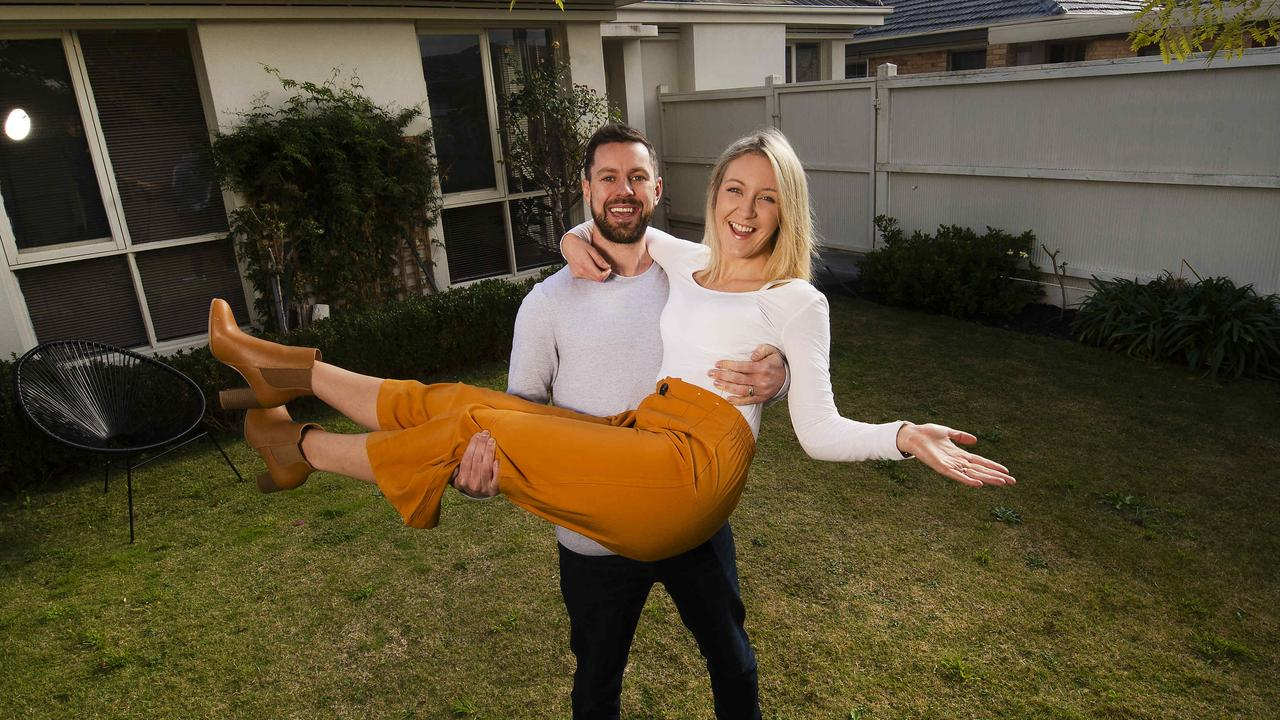 Bryan Dignam, 32, and his wife Aisling, 31, this month purchased their first home, a two-bedroom townhouse in Bentleigh in Melbourne. Picture: Rob Leeson.
