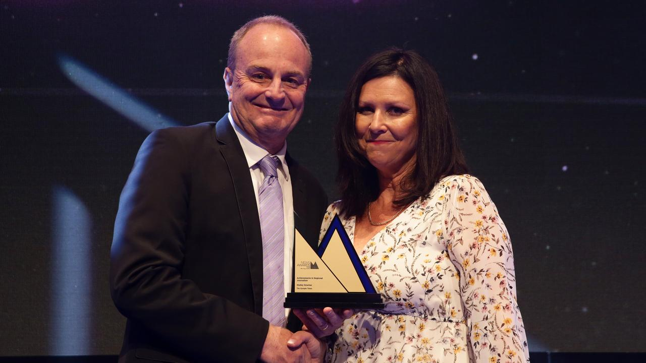 Shelley Strachan winner of Achievements in Regional Journalism with 'Crash' Craddock at the News Awards 2018, held at the Hyatt Regency, Sydney. Picture: Jonathan Ng