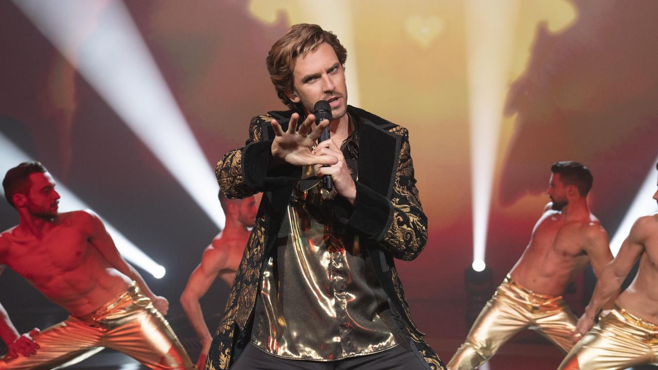 Dan Stevens and his gold outfits are the standout Picture: Jonathan Olley/Netflix