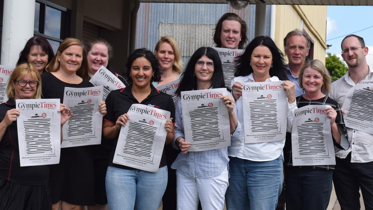 The Gympie Times staff with Tuesday's front page fightinb back against the encroaching culture of secrecy in government. Pictured (back from left) Sharon turner, Caroline Vielle, Renee King, Frances Klein, Josh Preston, Arthur Gorrie, Scott Kovacevic, (front) Tracey Gyde, Rebecca Singh, Rowena Robertson, Shelley Strachan and Tracey McKean.