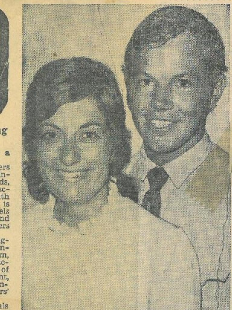 Marilyn and Ian Rayment's engagement announcement in 1974