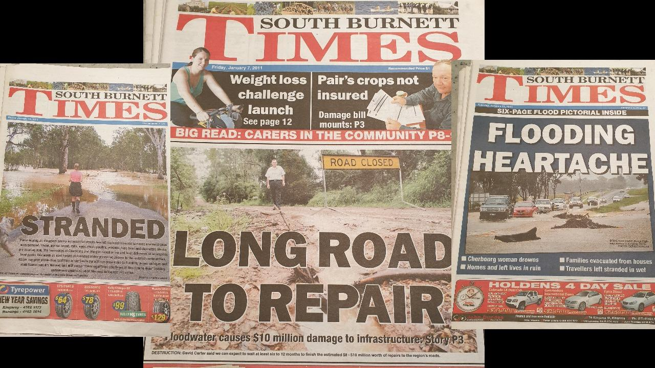 FLOOD OF MEMORIES: Some of the front pages from the 2010/2011 Kingaroy floods.