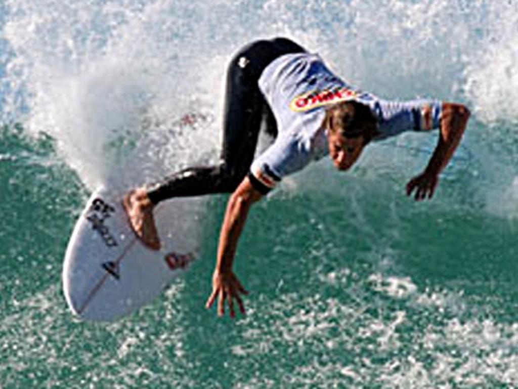 Rainbow Beach surfing legend Noah Lane carving it up.