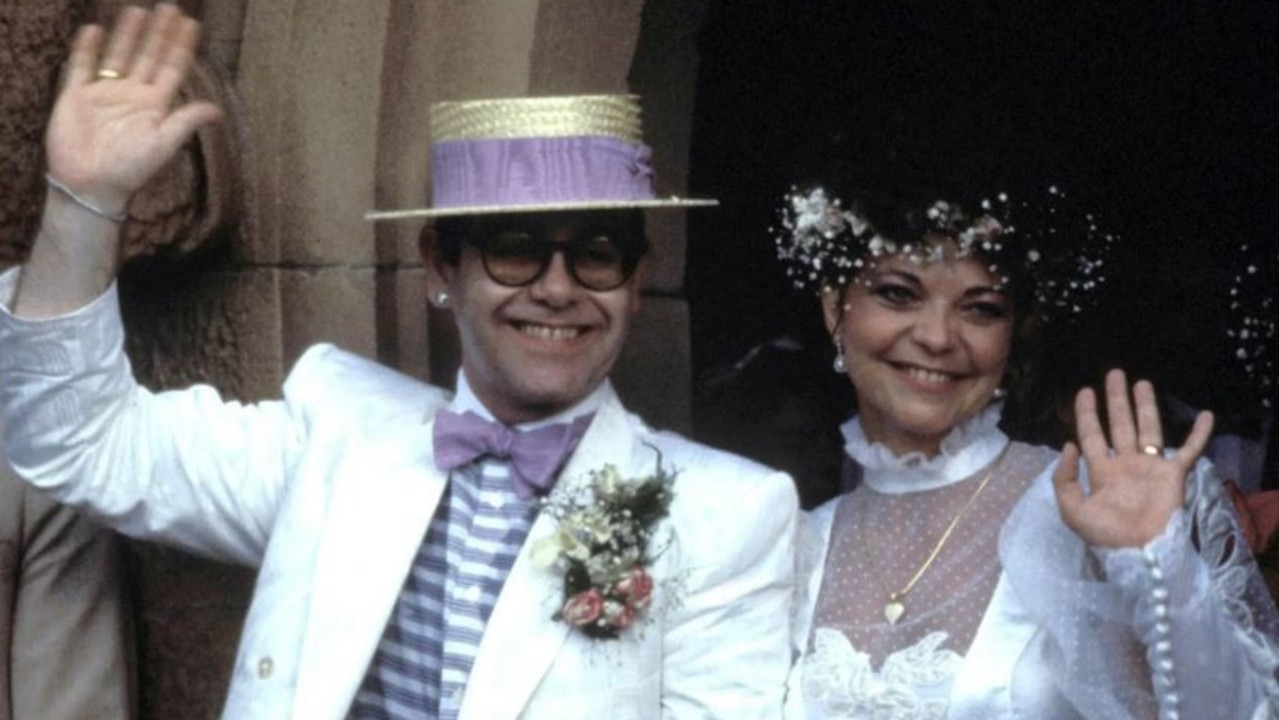 Elton John and Renata Blauel on their wedding day in Sydney in 1984. Picture: Getty Images