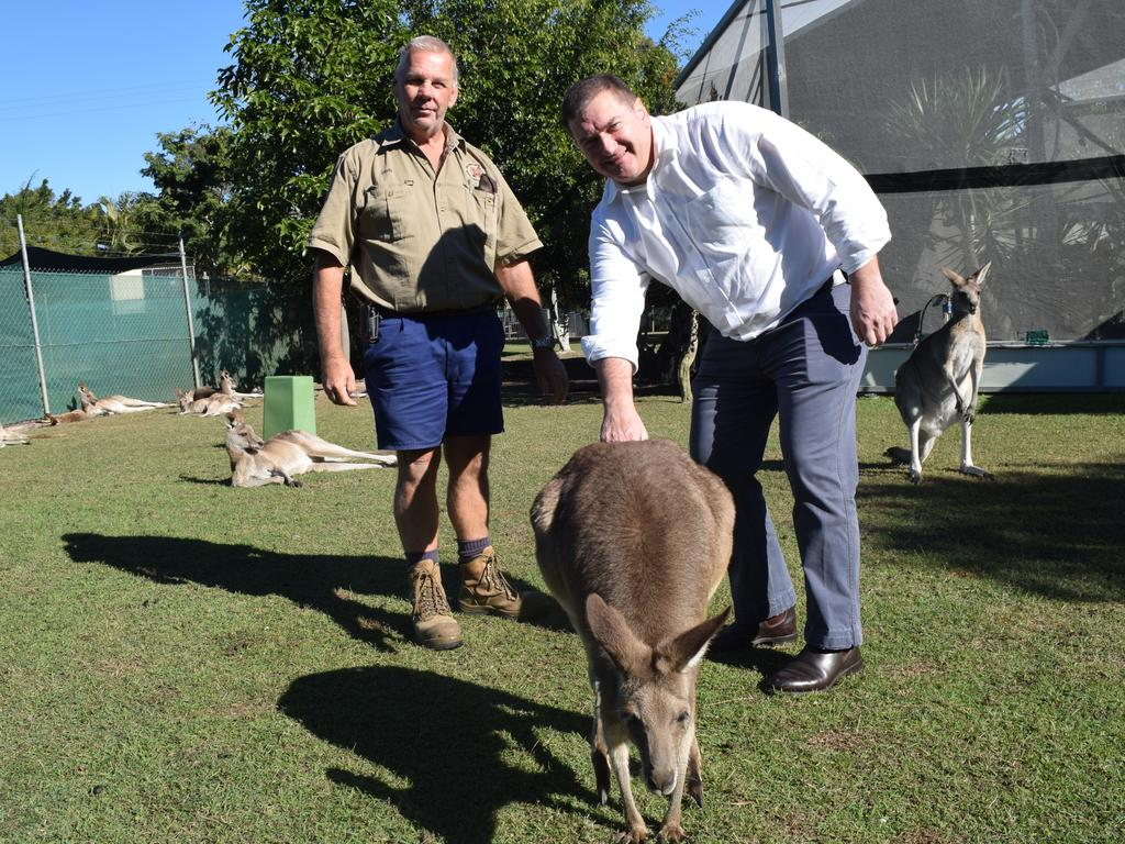 WILDLIFE SANCTUARY: Sanctuary Liaison Officer David Trigg with MP Llew O'Brien with a kangaroo at the Fraser Coast Wildlife Sanctuary. Photo: Stuart Fast