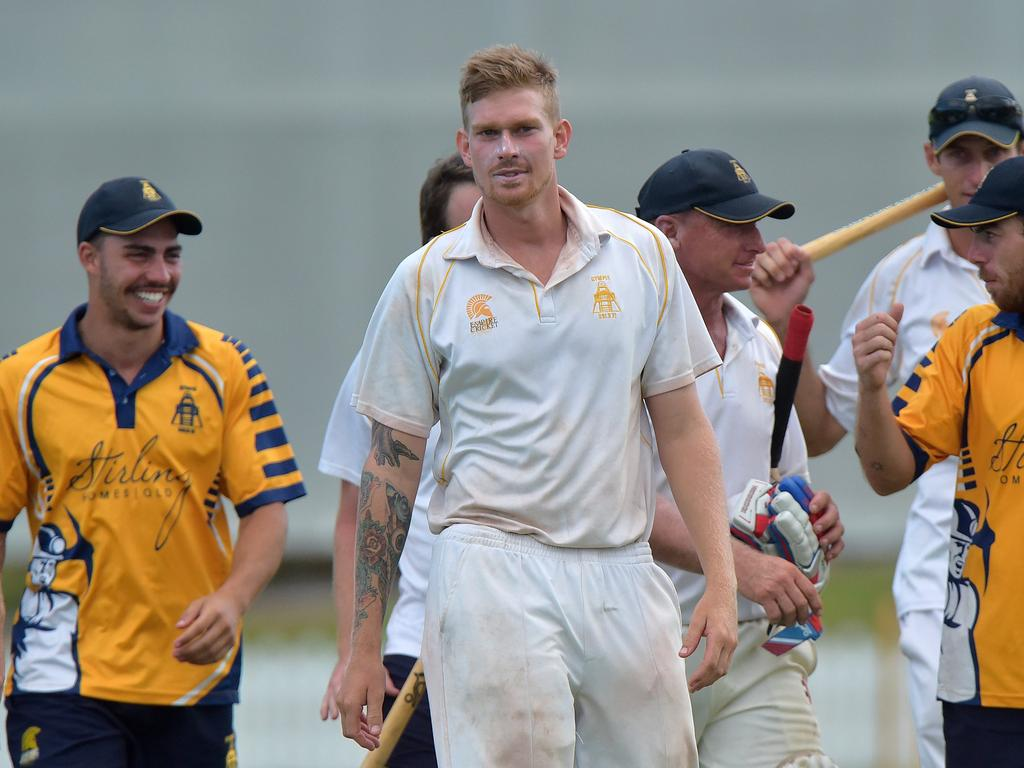 Maroochydore Blue against Gympie cricket grand final. Gympie celebrate the win Josh Brady (centre) walks off with his team. Photo: Warren Lynam / Sunshine Coast Daily