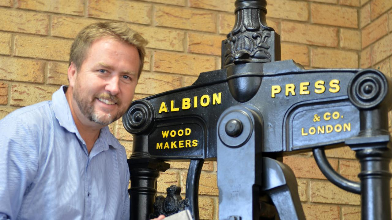 Gympie Times Editor Craig Warhurst at the Albion Printing Press.Photo Tanya Easterby