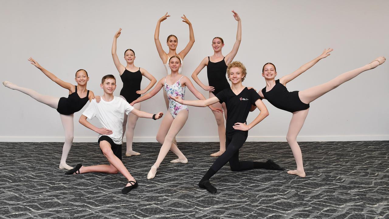 Dancers from the Leisa Payne School of Dance from left: Madeleine Trueman, Bodhi Rowe-Bailey, Emelina March- Peach, Demi Sammit, Bronte Vella. Abbie-Jane Whibley, Ashton Philp, Lila McGrath. Picture: Tony Martin