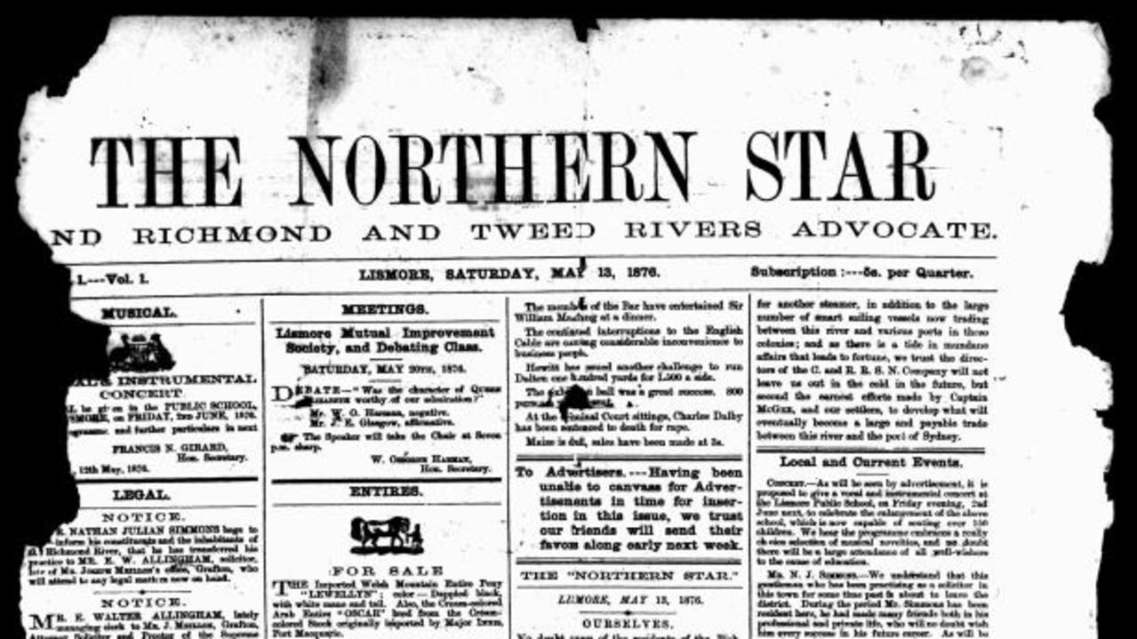 The first edition of The Northern Star in 1876.
