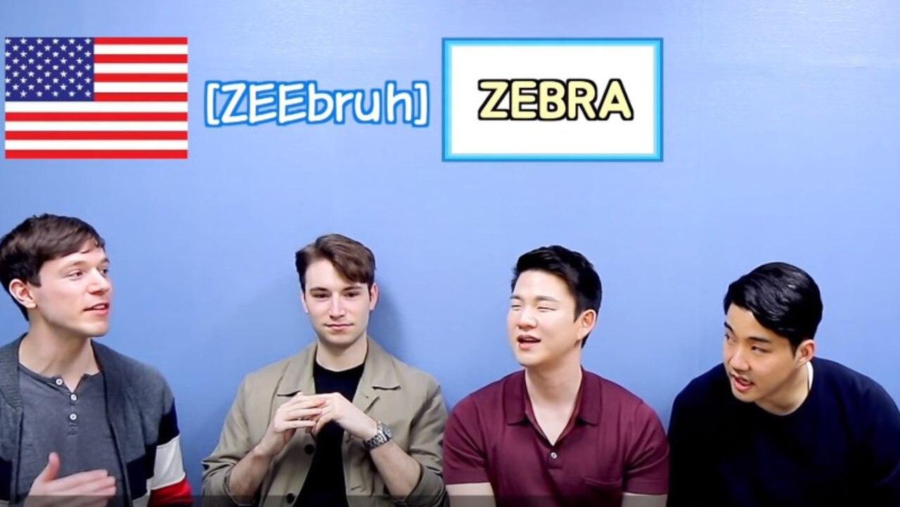 (Left to Right) 'American Jon', 'British Sam', host of the segment 'Korean Billy' and 'Australian Walter'. Picture: YouTube/ KoreanBilly'sEnglish