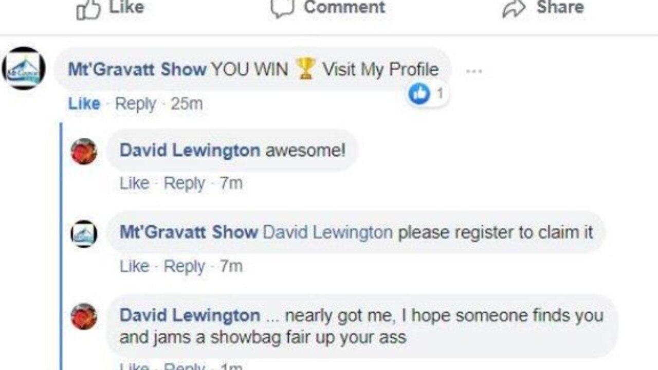 A scam account has been created to try and fleece hopefuls who haveentered into the Mount Gravatt Show Society's showbag giveaway. Picture: Facebook