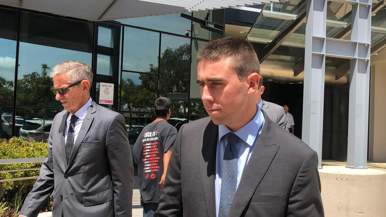 Paul Hamstra (right) leaving court with solicitor Chris Nyst. Picture: Lea Emery