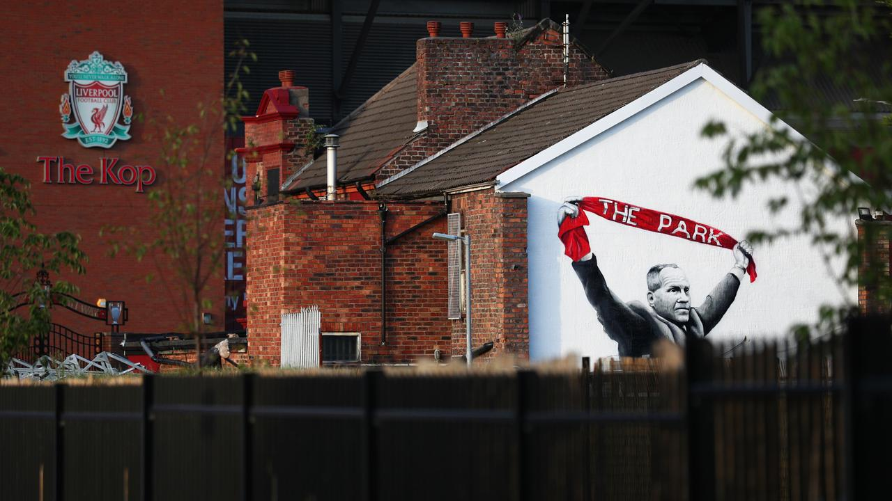 Liverpool's stadium and Bill Shankly mural at Anfield pictured this month.