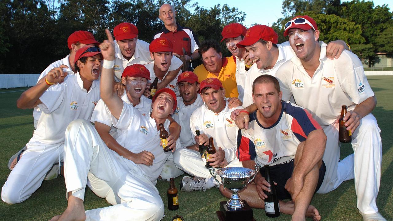 Sunshine Coast Scorchers cricket team celebrate after winning the Brisbane fist grade final against University in 2006 Photo Bob Jones