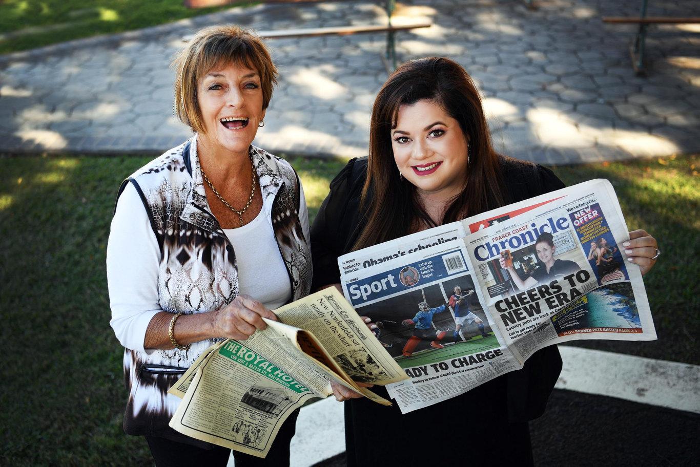 Longest serving editor Nancy Bates with current editor Jessica Grewal