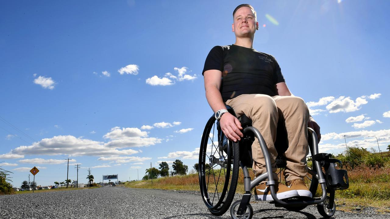 Damon Jaenke plans to push his wheelchair from Brisbane to Mackay to raise funds for mental health. Picture: Tony Martin