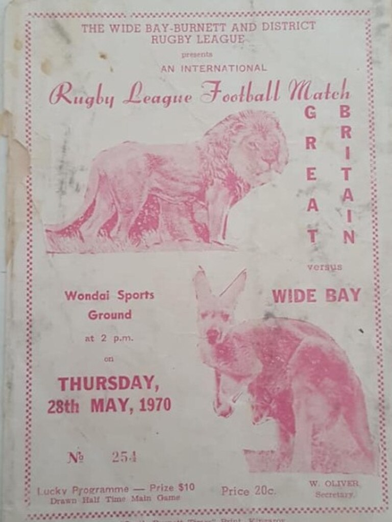 TRY TIME: A flyer for the 1970 Great Britain vs South Burnett rugby league match. (Picture: Contributed)