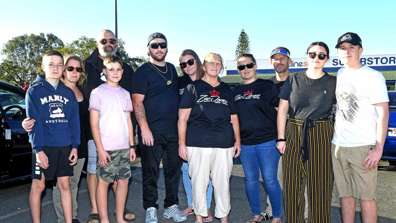 Zac Jones's mum Debbie (centre) with family and friends at Loganholme to remember Zac. 250 people arrived for the procession in Logan to remember Zac. Picture: John Gass