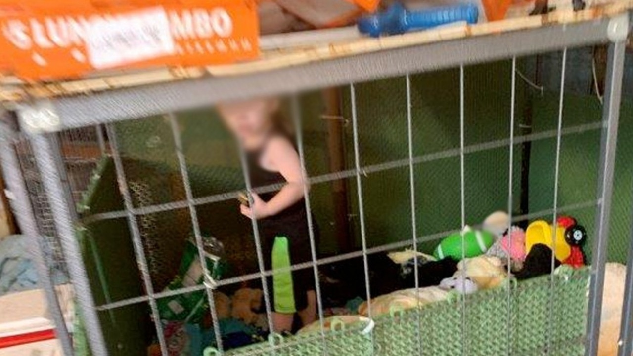 Henry County police found a toddler in cage along with abused animals.