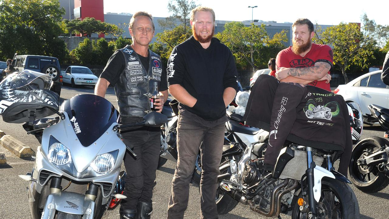 Tim Wilson, David Durbin and Scozzy are at Loganholme to remember Zac Jones. Picture: John Gass