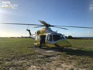 Man rescued from island after motorcycle crash