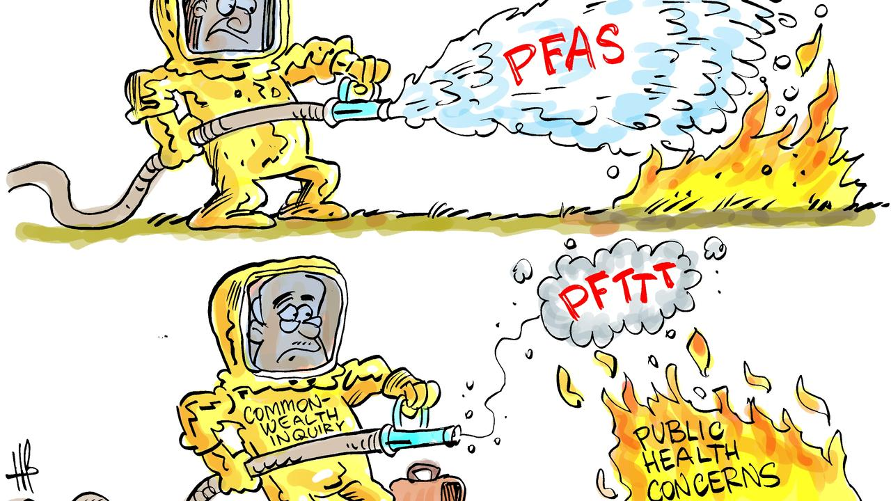 Daily Mercury cartoonist Harry Bruce's interpretation of our story on the promised PFAS health inquiry at Shellgrit Creek not going ahead.