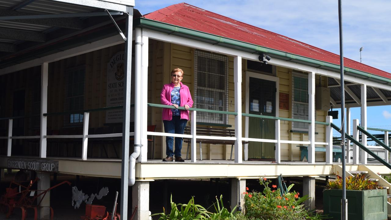 FORTY YEARS ON: Biggenden Historical Society's president Christine Holder on the verandal of the museum as it is today.