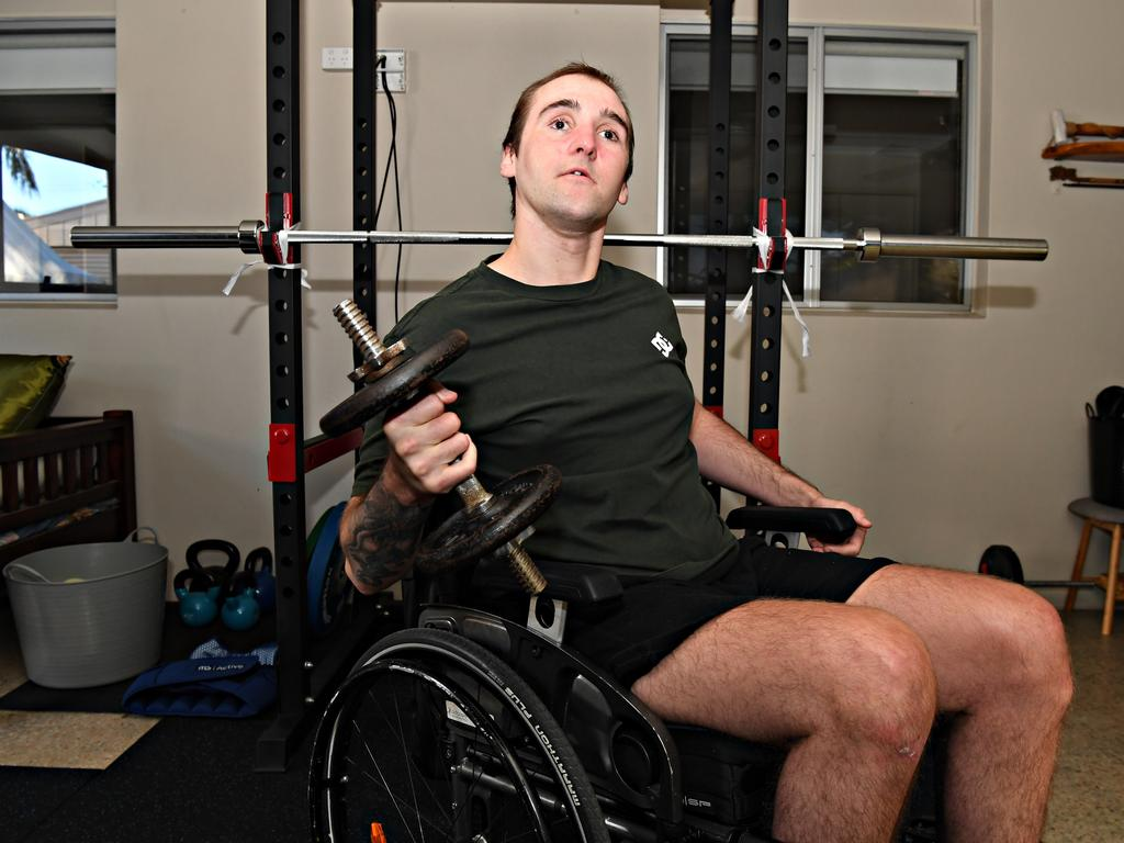 Chris Brace faces being blind for his life and possibly wheelchair-bound from a horror crash at Maroochydore. 18 months after the crash he is showing great progress. Photo: Warren Lynam